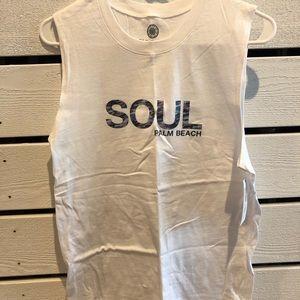 Soul Cycle Muscle Tee T-Shirt Palm Beach White